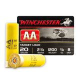 "Winchester AA Target 20 Gauge 2-3/4"" 7/8 oz. #8 Lead Shot - 250 Rounds"