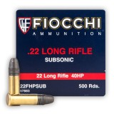 Fiocchi Subsonic 22 LR 40 Grain HP - 500 Rounds