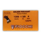 "Fiocchi Golden Pheasant 12 Gauge 2-3/4"" 1-3/8 oz. #4 Nickel Plated Lead Shot – 25 Rounds"