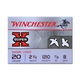 "Winchester Super-X Game and Target Load 20 Gauge 2-3/4"" 7/8 oz. #8 – 25 Rounds"