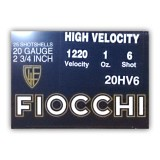 "Fiocchi High Velocity 20 Gauge 2-3/4"" 1 oz. #6 – 25 Rounds"