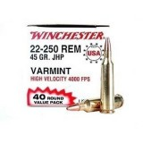 Winchester USA 22-250 45 Grain JHP - 40 Rounds