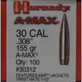 "Hornady 30 Caliber (.308"" Diameter) Bullets 155 Grain A-MAX with AMP Jackets - 100 Projectiles"