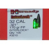 "Hornady Interlock 32 Winchester Special (.321"" Diameter) Bullets 170 Grain FP - 100 Projectiles"