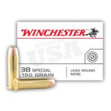 Winchester USA 38 Special 150 Grain LRN - 50 Rounds