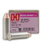 Hornady 38 Special 90 Grain FTX Critical Defense Lite FTX - 25 Rounds