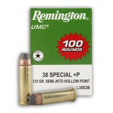 Remington UMC 38 Special +P 125 Grain SJHP - 100 Rounds