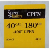 Speer 40 S&W 180 Grain CPRN Bullets (.400) – 500