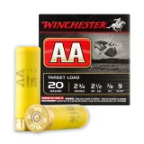 "Winchester AA 20 Gauge 2-3/4"" 7/8 oz. #9 - 25 Rounds"