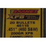 Barnes .451 Diameter Bullets - 200 Grain JHP - 20 Count
