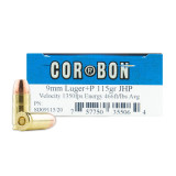 Corbon 9mm +P 115 Grain JHP - 20 Rounds