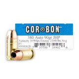 Corbon 380 Auto 90 Grain JHP – 20 Rounds