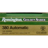 Remington Golden Saber 380 Auto 102 Grain JHP - 25 Rounds