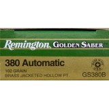 Remington Golden Saber 380 Auto 102 Grain JHP - 500 Rounds