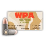 Wolf MIlitary Classic Spam Can 9mm 115 Grain FMJ - 800 Rounds
