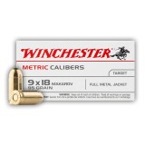 Winchester 9x18mm Makarov 95 Grain FMJ - 50 Rounds