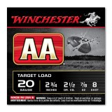 "Winchester AA 20 Gauge 2-3/4"" 7/8 oz. #8 - 25 Rounds"
