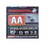 "Winchester AA Low Recoil Target 20 Gauge 2-3/4"" 7/8 oz. #8 – 25 Rounds"