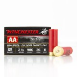 """Winchester AA 12 Gauge 2-3/4"""" 7/8 oz. #8 Lead Shot Low Recoil Target Load - 25 Rounds"""