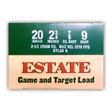 "Estate Cartridge Game and Target Load 20 Gauge 2-3/4"" 7/8 oz. #9 Lead Shot – 25 Rounds"