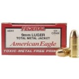 Federal 9mm Luger 124 Grain American Eagle TMJ - 50 Rounds