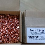 "Berry's 9mm (.356"" Diameter) 124 Grain Plated RN-DS – 1000 Rounds"
