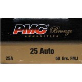PMC Bronze 25 ACP 50 Grain FMJ – 50 Rounds