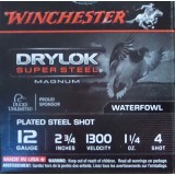 "Winchester Drylok Super Steel 12 Gauge 2-3/4"" 1-1/4 oz. #4 Steel Shot – 25 Rounds"