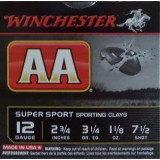 "Winchester AA Sporting Clay 12 Gauge 2-3/4"" 1-1/8 oz. #7-1/2 – 25 Rounds"