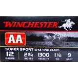 "Winchester AA Sporting Clay 12 Gauge 2-3/4"" 1-1/8 oz. #9 – 25 Rounds"