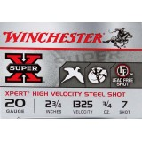 "Winchester Super-X 20 Gauge 2-3/4"" 3/4 oz. #7 Steel Shot – 250 Rounds"