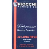 Fiocchi Subsonic 22 LR 40 Grain HP - 50 Rounds