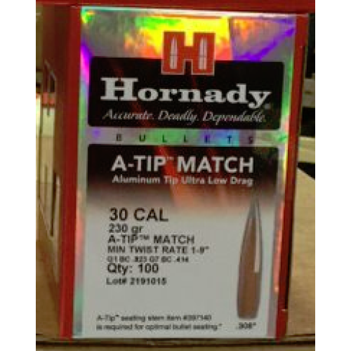 Hornady  308 Diameter Bullets - 230 Grain A-TIP Match – 100 Count