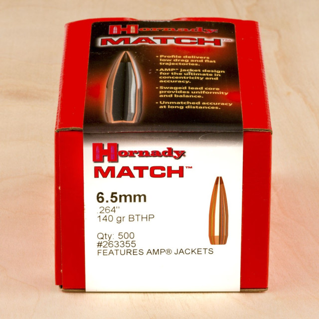 Image of Hornady .264 Diameter Bullets - 140 Grain HPBT MATCH - 500 Count