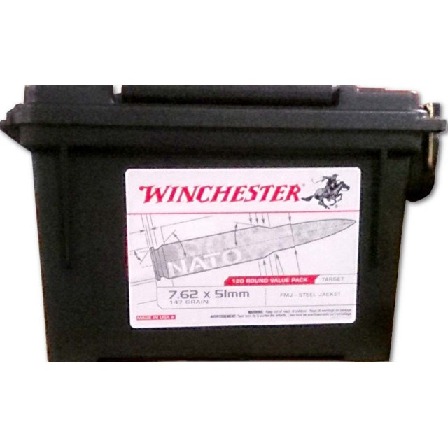 Image of Winchester Ammo Can 7.62x51mm NATO 147 Grain FMJ – 120 Rounds